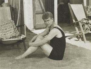Yesenin on the beach in Venice in 1922, during a holiday with Isadora Duncan