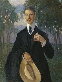Portrait of Gumilev at African background by Olga Della-Vos-Kardovskaya, 1909