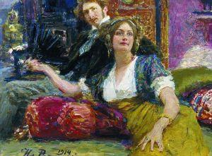 Sergei Gorodetsky with his wife, Ilya Repin, 1914
