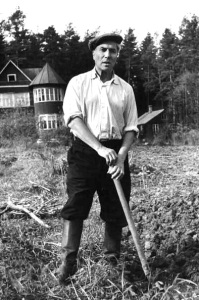 Boris Pasternak digging a potato patch at his dacha in Peredelkino, near Moscow, in the summer of 1958. LIFE magazine.