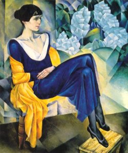 Portrait by Nathan Altman of Anna Akhmatova, 1914 © 1999. George Mitrevski. Auburn University -- from web page on Russian Art at http://www.auburn.edu/academic/liberal_arts/foreign/russian/art/altman-akhmatova.html