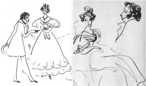Pushkin's sketches of himself and his wife, Natalia Goncharova