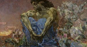 The Demon, by Mikhail Vrubel, 1890 [Public domain or Public domain], via Wikimedia Commons